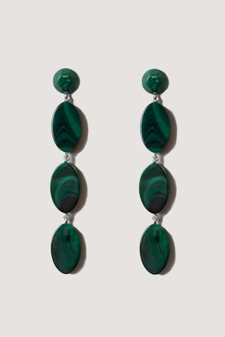 Bond long earrings, malachite