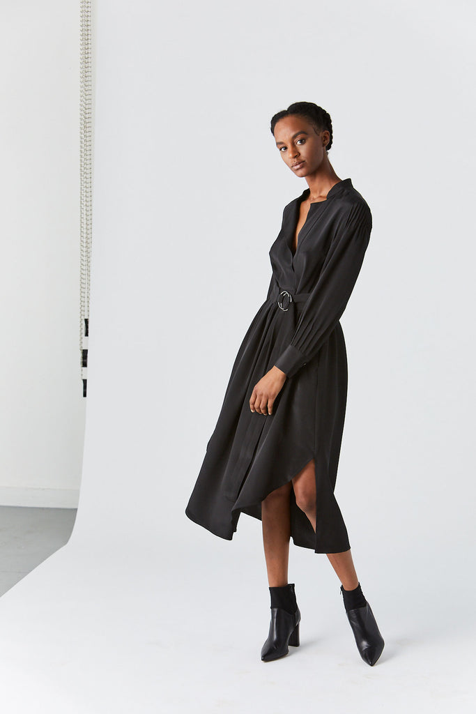Allium Dress, Black Silk Crepe