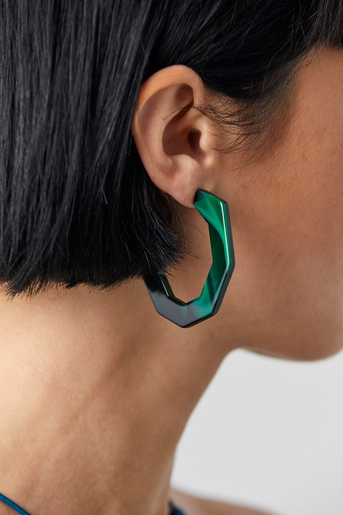 Baby Factor Earrings, Malachite