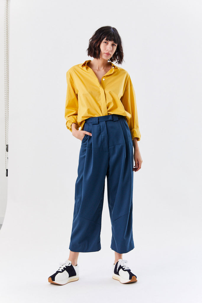 Cropped Divide Pant, Navy
