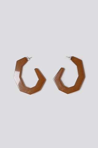 Factor earrings, smokey brown