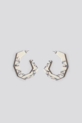 Factor earrings, white marble