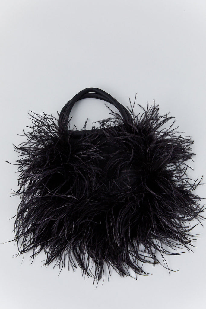 RACHEL COMEY - Flock Bag, Black Bonded Satin