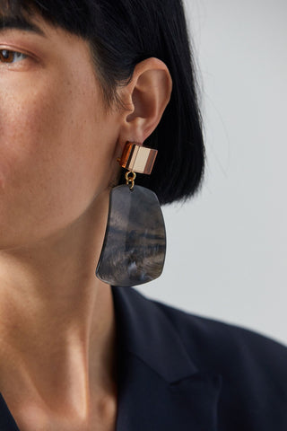 Furrow Earring, Black Marble