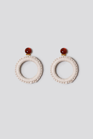 Lami circle earrings, bone