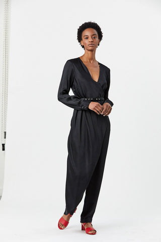 Perceive Jumpsuit, Black Hammered Satin