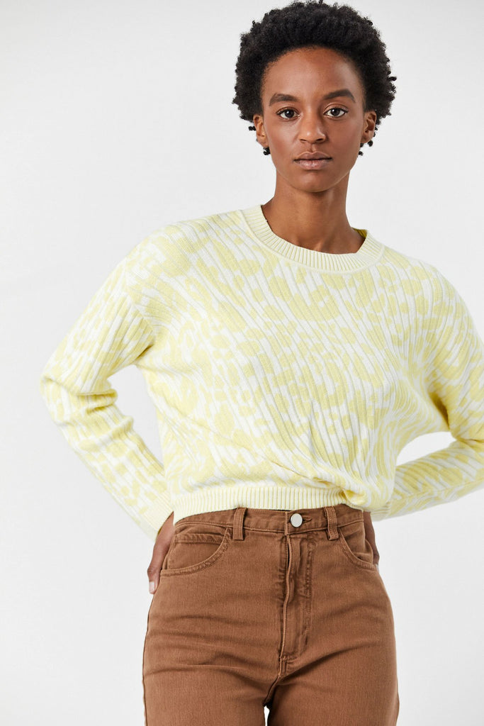 Prompt Pullover, Lemon Animal Jacquard