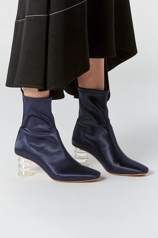 Binx Boot in Stretch Satin, Midnight