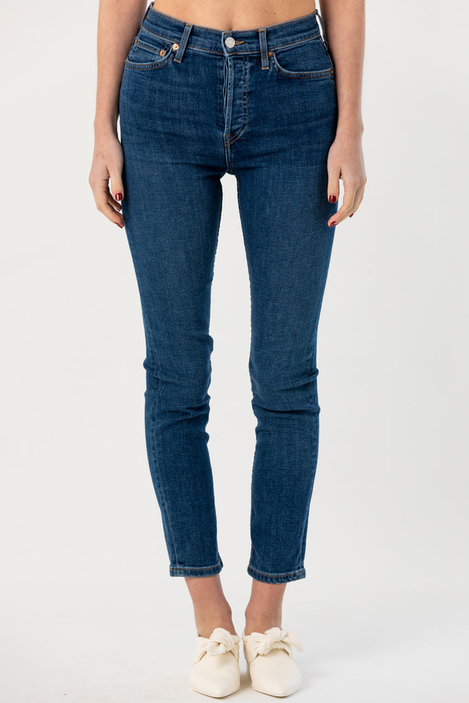 Re/Done - High Rise Ankle Crop, Medium Blue