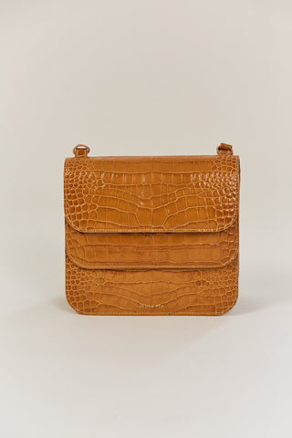 Ana double flap leather croc, tan