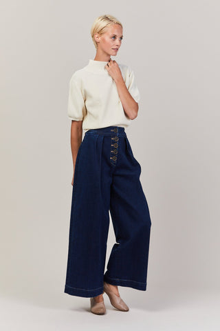 Brodie pleated denim pant, Dark Wash