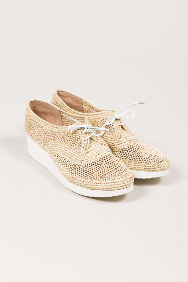 Vicole M Raffia Platform Wedge, Natural raffia. by Robert Clergerie @ Kick Pleat - 1