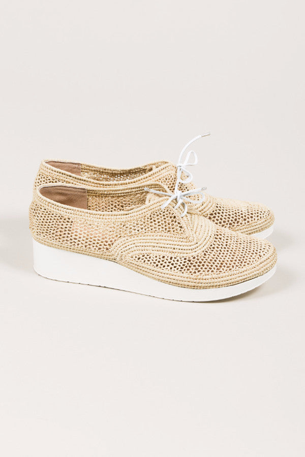 Vicole M Raffia Platform Wedge, Natural raffia. by Robert Clergerie @ Kick Pleat - 3