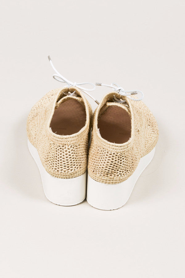 Vicole M Raffia Platform Wedge, Natural raffia. by Robert Clergerie @ Kick Pleat - 4