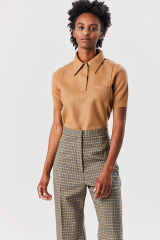 Knit Polo Top, Beige