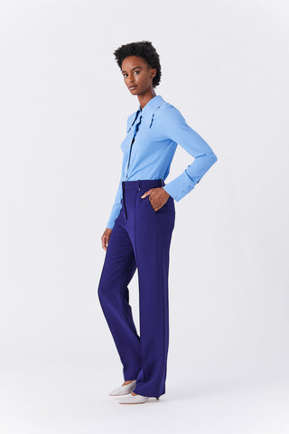 Pintuck Straight Trouser, Cobalt