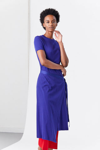 Short Sleeve Apron Wrap T-Shirt, Cobalt