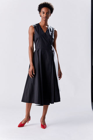 Belted Wrap Dress, Black