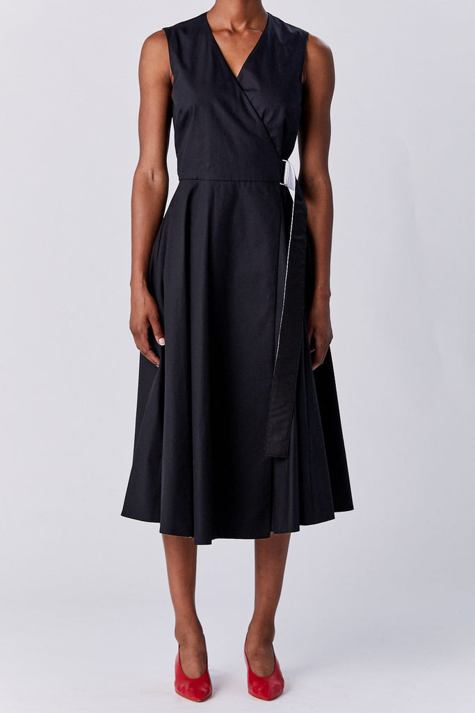 ROSETTA GETTY - Belted Wrap Dress, Black