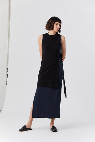 Blocked Split Dress, Black & Navy