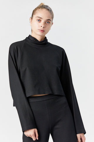 Cocoon Turtleneck Top, Black