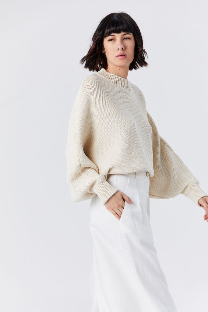 Cropped Oversized Pullover, Bisque