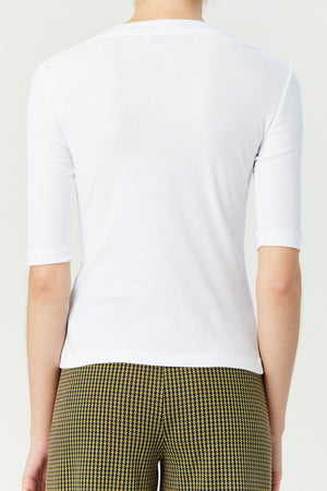 ROSETTA GETTY - Cropped Sleeve T-Shirt, White