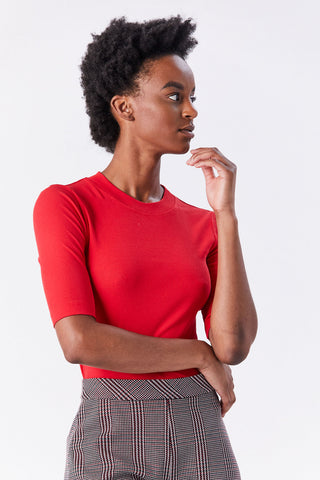 Cropped Sleeve Tee, Rouge