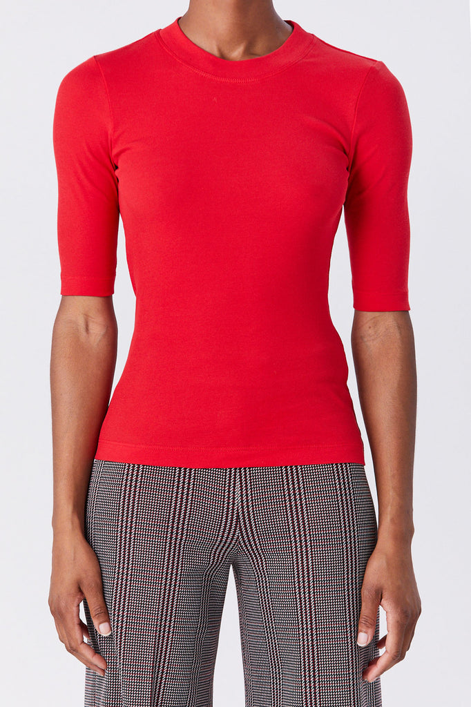 ROSETTA GETTY - Cropped Sleeve Tee, Rouge