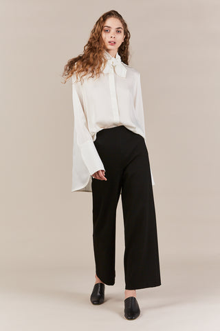 cropped straight trousers, black