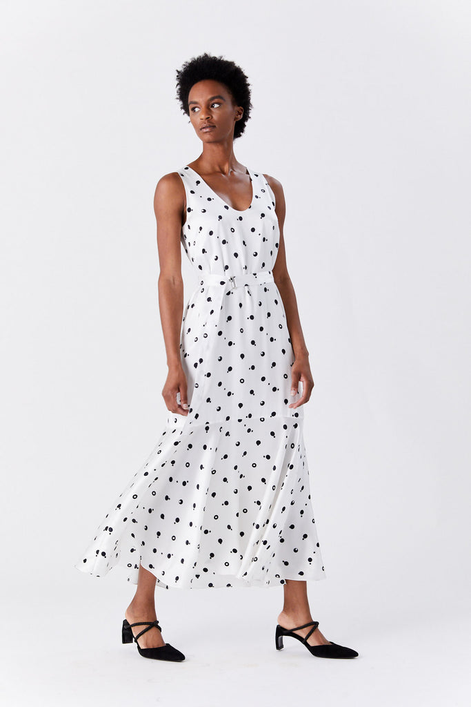 ROSETTA GETTY - Fluted Tank Dress, White & Black