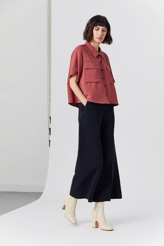 High Rise Cropped Trouser, Navy