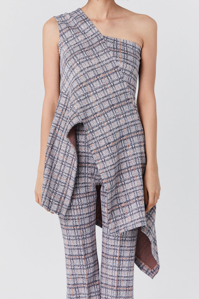Rosetta Getty - One-Shoulder Top, Plaid