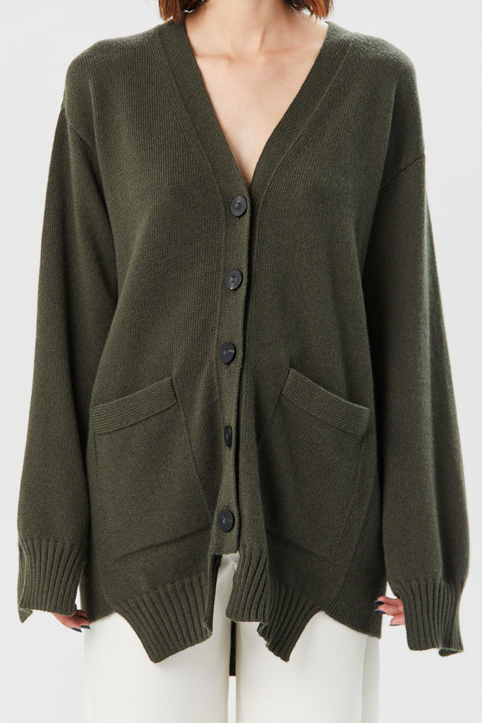 Rosetta Getty - Paneled Cardigan, Loden