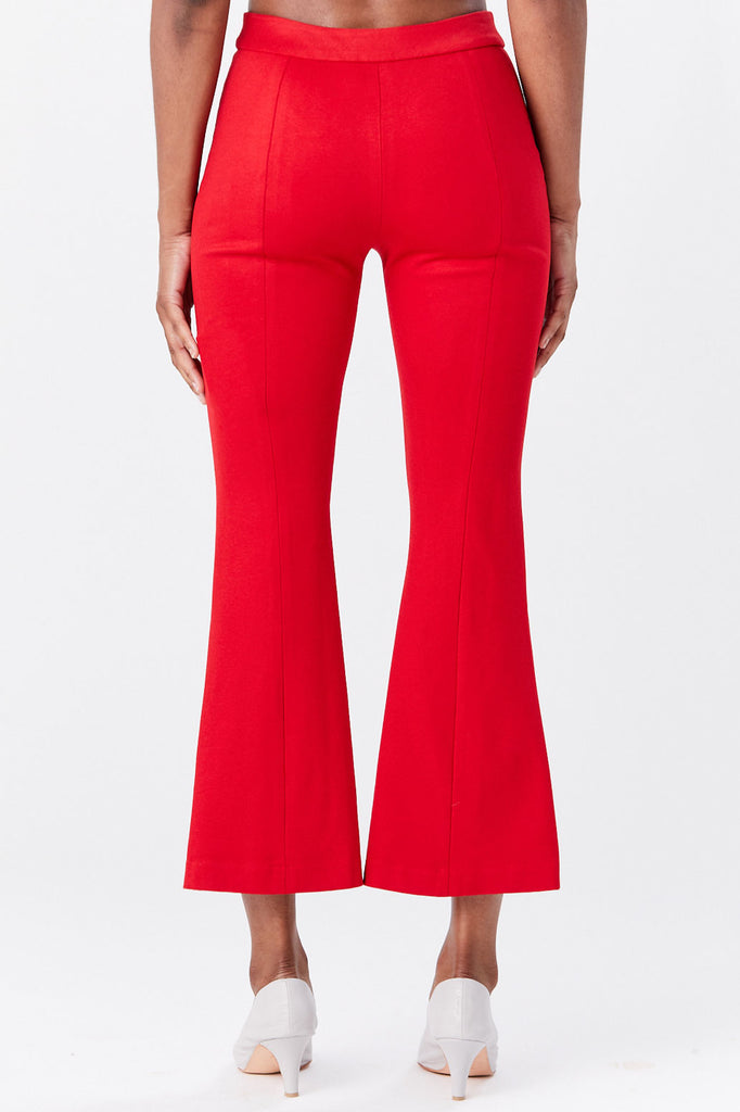 ROSETTA GETTY - Pull on Cropped Flare Pant, Rouge