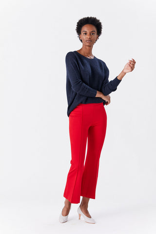 Pull on Cropped Flare Pant, Rouge