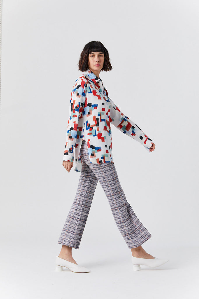 Pull on Cropped Flare Pant, Plaid