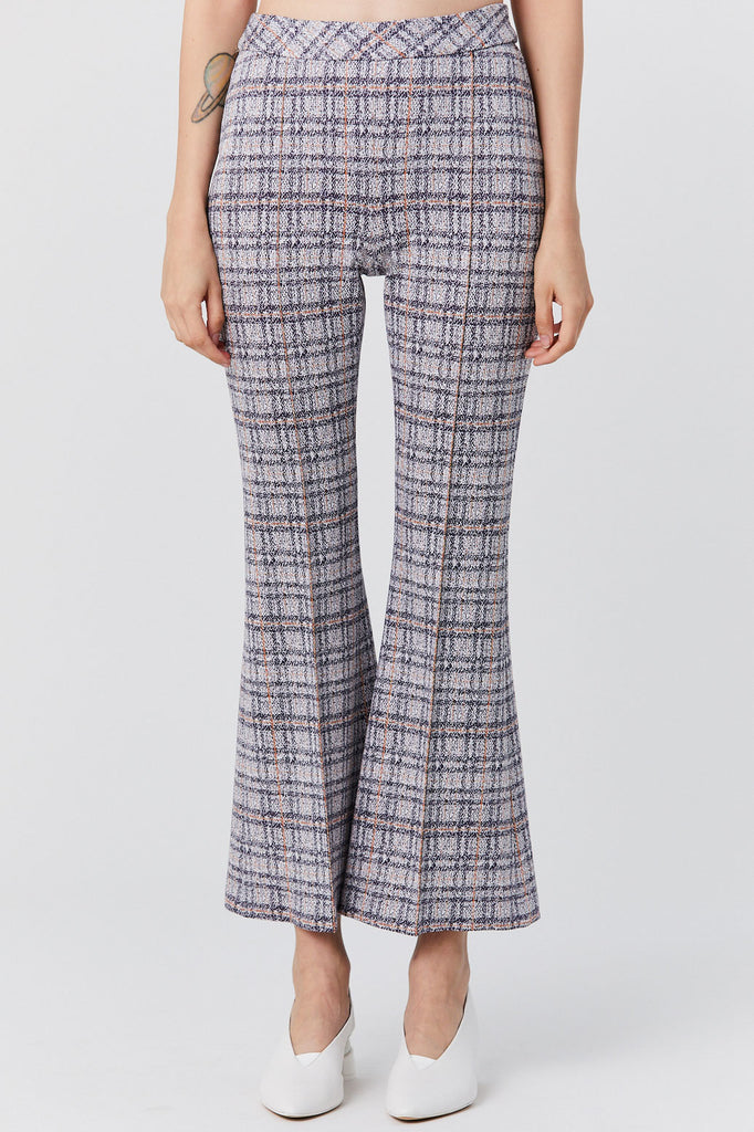 Rosetta Getty - Pull on Cropped Flare Pant, Plaid