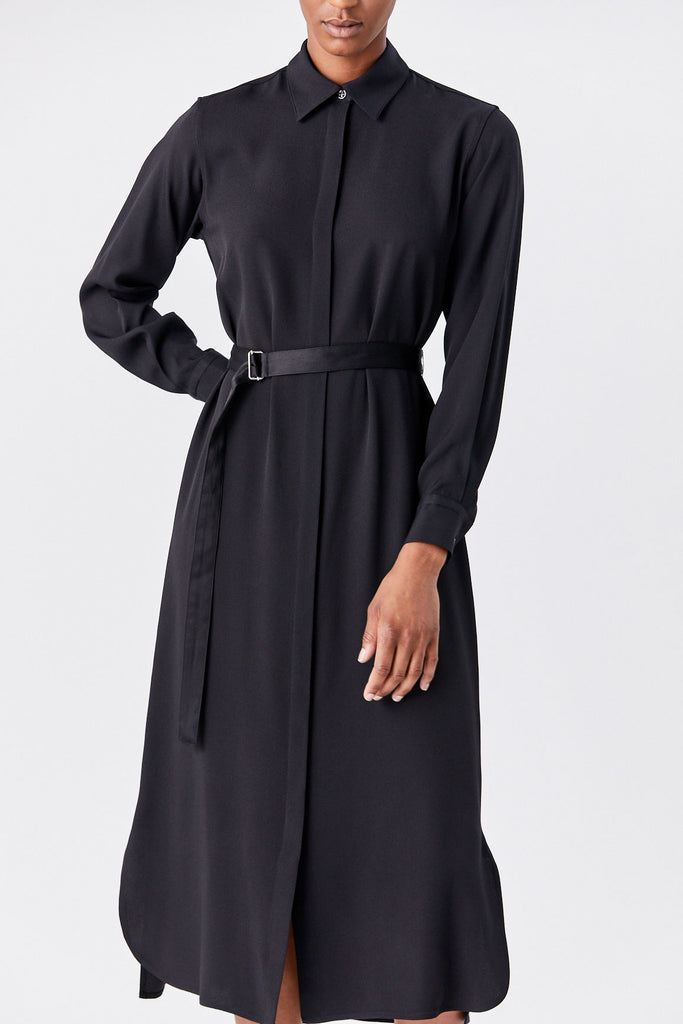 Relaxed Shirt Dress, Black