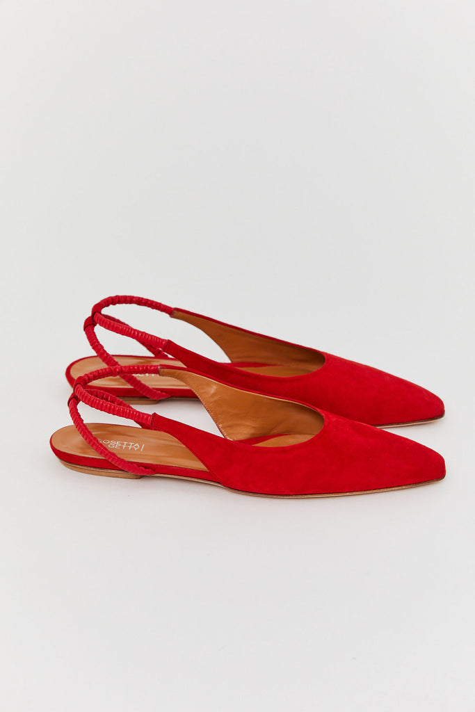 ROSETTA GETTY - Ruched Slingback Flat, Red