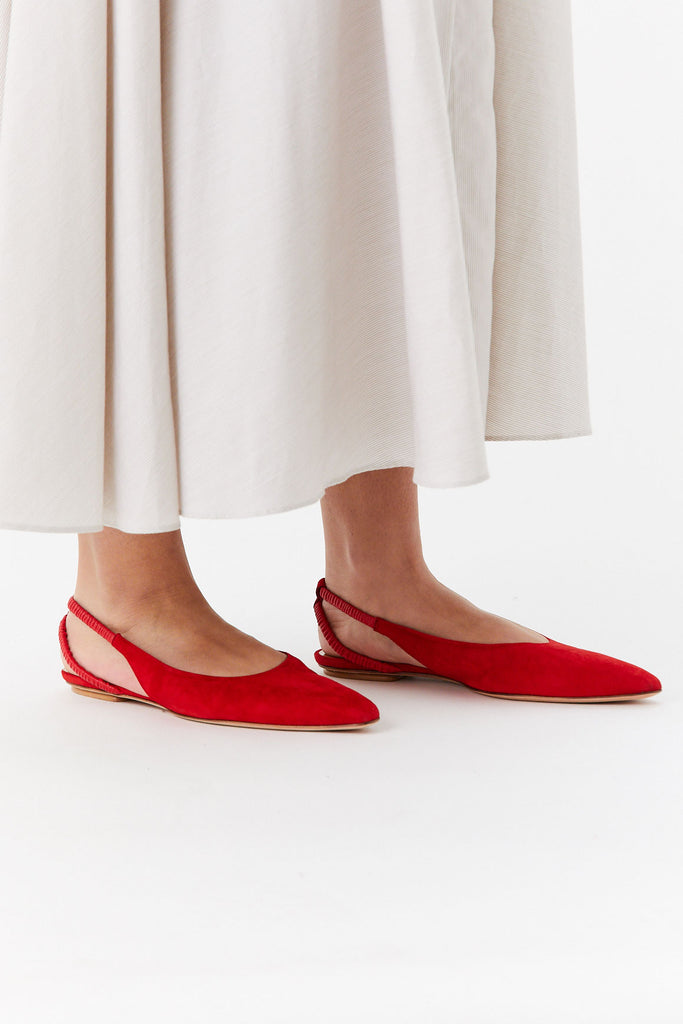 Ruched Slingback Flat, Red