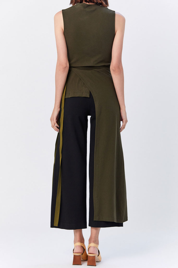 Rosetta Getty - Sleeveless Split Apron T-Shirt, Loden