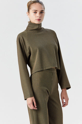 Cocoon Turtleneck Top, Houndstooth