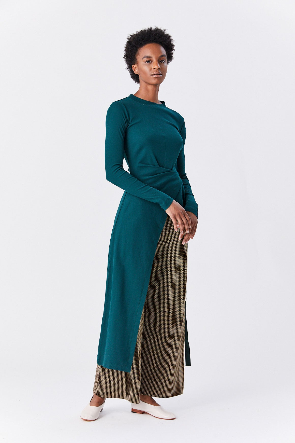 ROSETTA GETTY - Long Sleeve Apron Wrap T-Shirt, Green