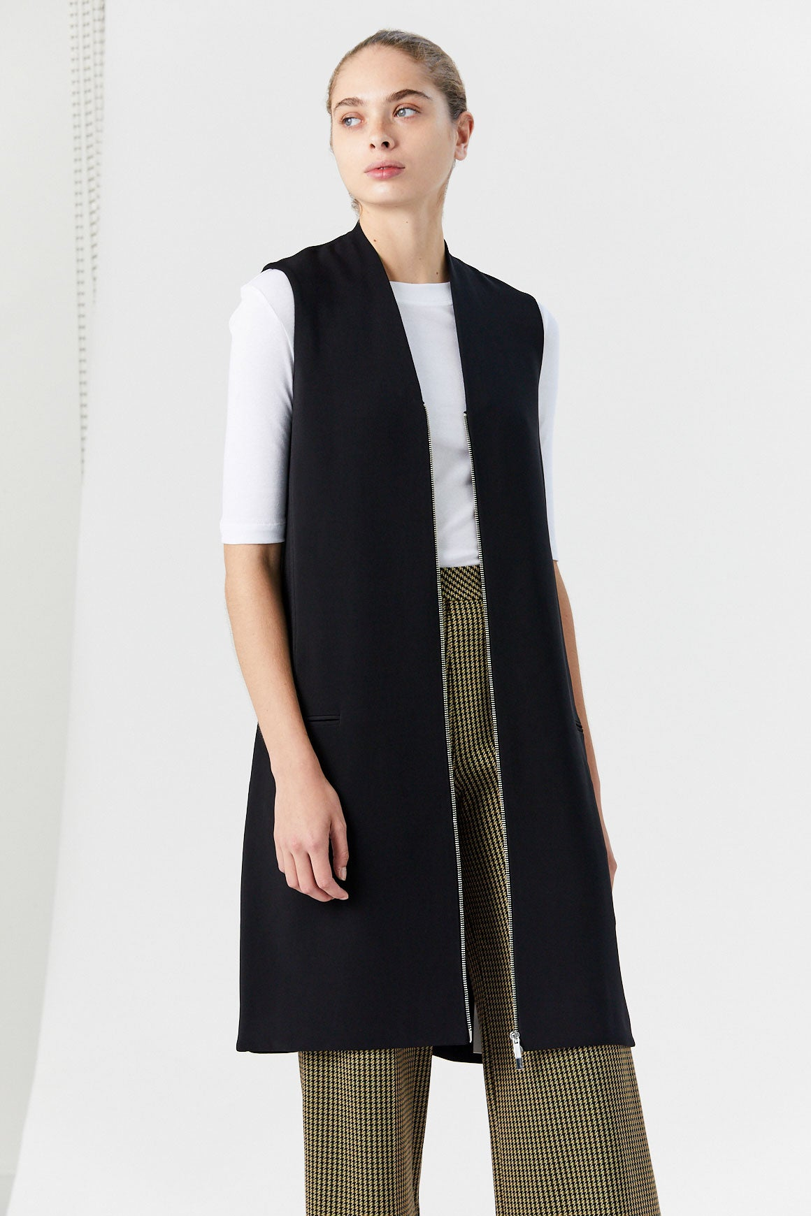ROSETTA GETTY - Zip-Detailed Vest Midi Dress, Black
