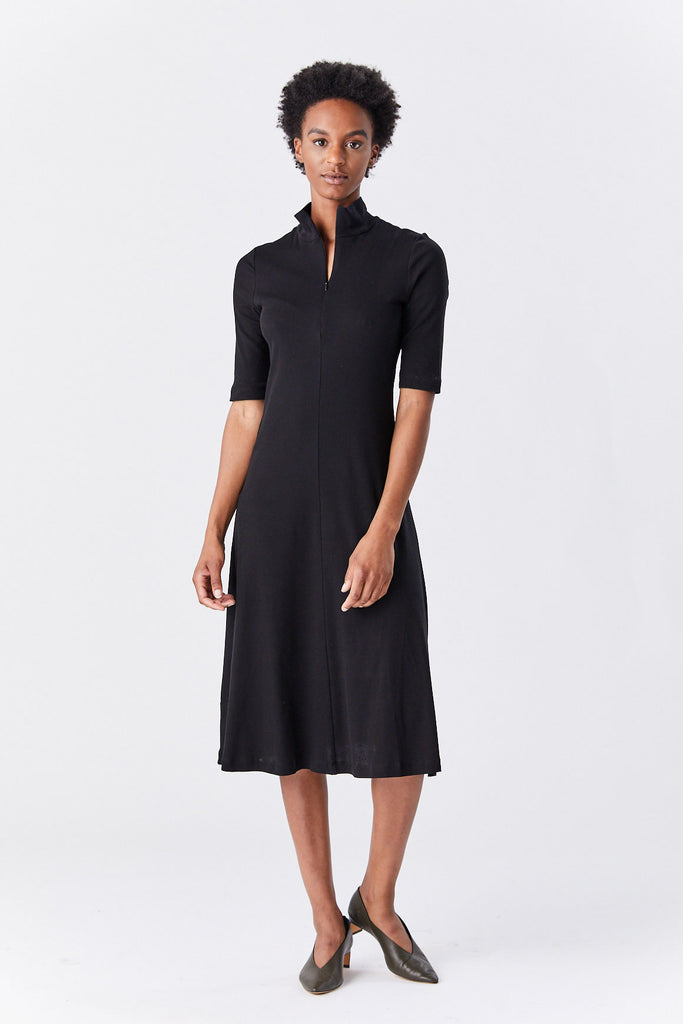 ROSETTA GETTY - Zip Up Turtleneck Dress, Black