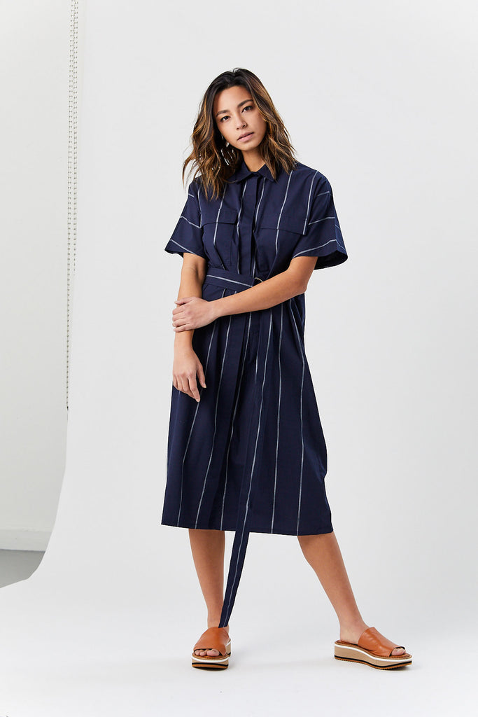 Del Belt Dress, Navy Stripe