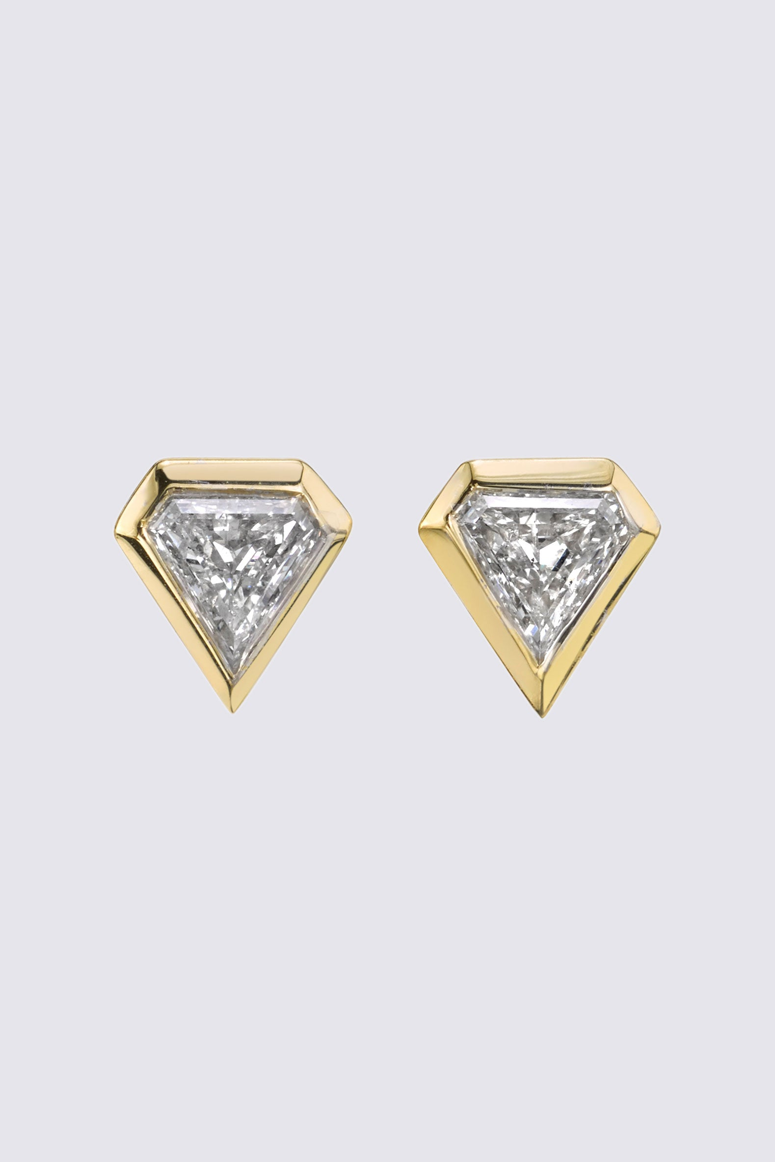 AZLEE - Shield Diamond Studs, Gold