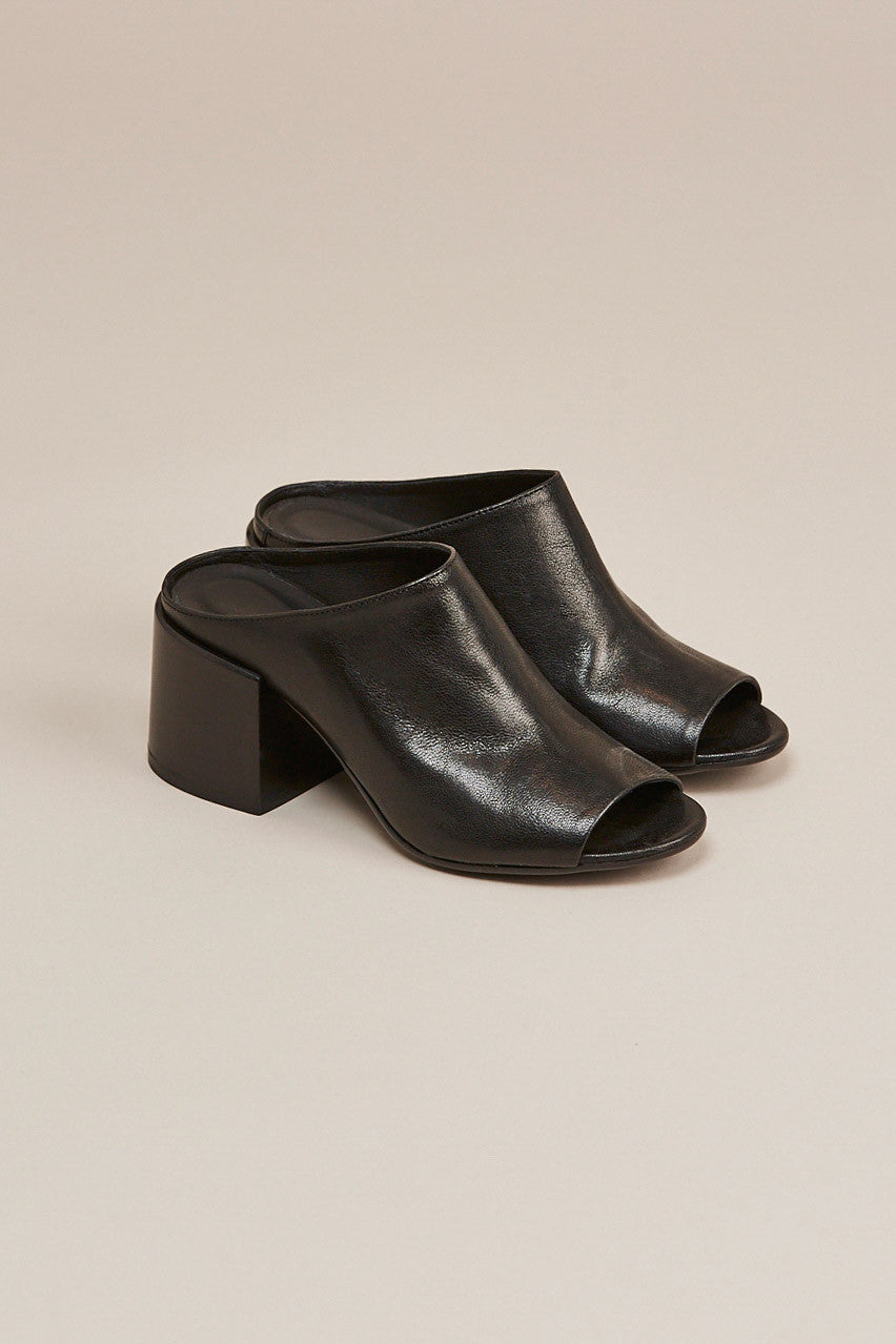Leather mule, Black by MM6 by Maison Martin Margiela