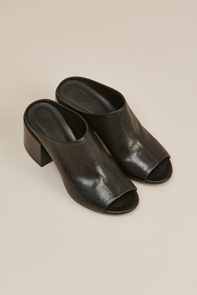 Leather mule, Black by MM6 by Maison Martin Margiela @ Kick Pleat - 5